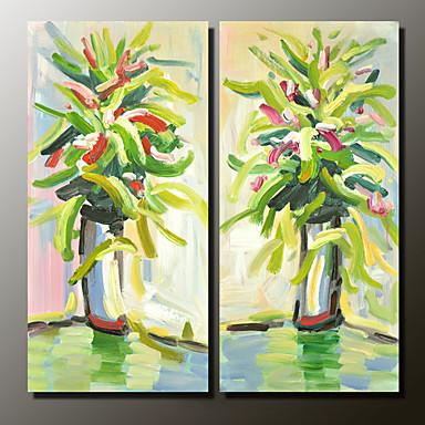 Peint à la main Nature morte Panoramique horizontal, Moderne Toile Peinture à l'huile Hang-peint Décoration d'intérieur Deux Panneaux
