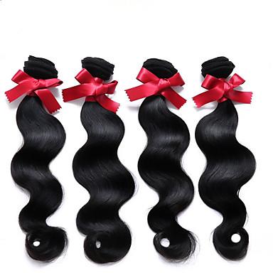 Cabelo Humano Cabelo Peruviano Cabelo Humano Ondulado Onda de Corpo Extensões de cabelo 4 Peças Cor Natural