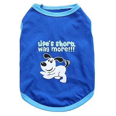 Gato Perro Camiseta Ropa para Perro Animal Azul Algodón Disfraz Para mascotas Hombre Mujer Moda