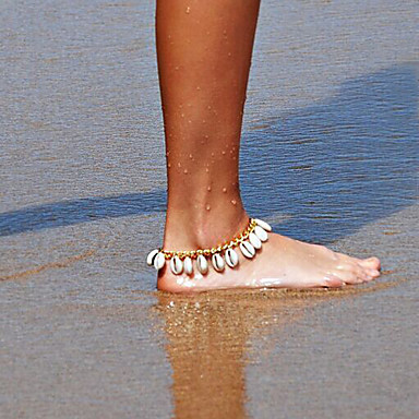 בגדי ריקוד נשים תכשיט לקרסול / צמידים Cowry ציפוי סגסוגת עיצוב מיוחד צִיצִית אופנתי תכשיט לקרסול אחרים תכשיטים עבור יומי קזו'אל חוף