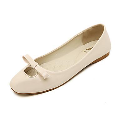 kvinners sko pu vår / høst Comfort / firkantet tå leiligheter uformell flat hæl bowknot svart / rød / mandel