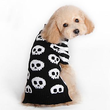 Katze Hund Pullover Hundekleidung Modisch Halloween Totenkopf Motiv Schwarz Kostüm Für Haustiere