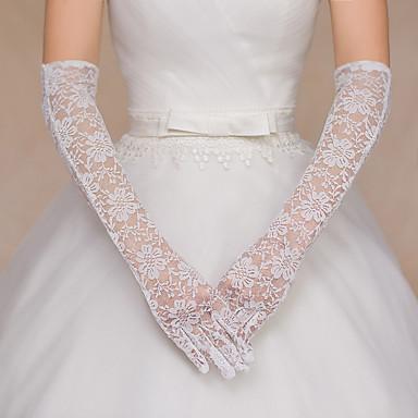 Spitze Baumwolle Handgelenk-Länge Opernlänge Handschuh Charme Stilvoll Brauthandschuhe Party / Abendhandschuhe With Stickerei Einfarbig