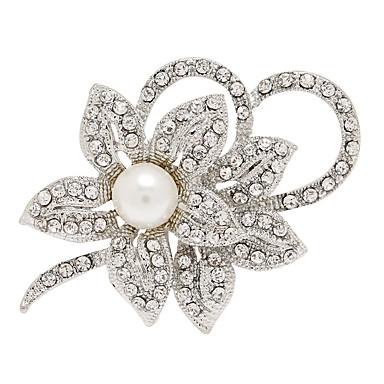 結婚式のためのファッションラインストーン合金の花の形のブローチ