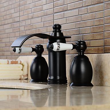 Contemporâneo Difundido Cascata with  Válvula Cerâmica Duas alças de três furos for  Bronze Oleado , Torneira pia do banheiro