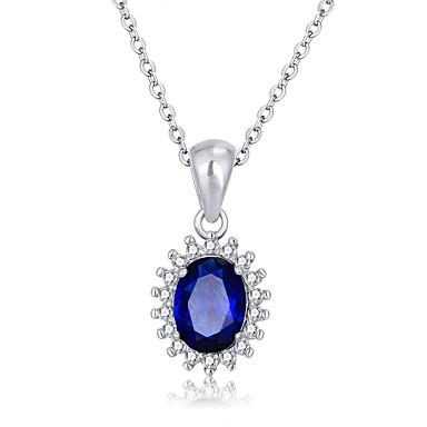 Femme Pendentif de collier Zircon cubique Forme Ronde Argent sterling Zircon Platiné Plaqué or Mode Bleu royal Bijoux PourMariage Soirée
