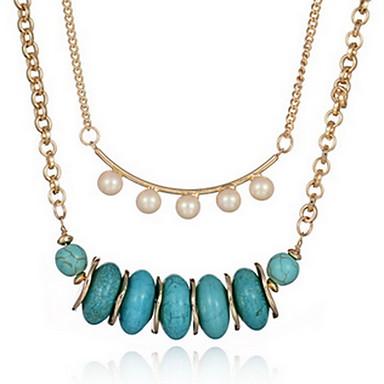 שרשראות שרשרת / שרשראות גדילים תכשיטים יומי / קזו'אל שכבה כפולה / אופנתי סגסוגת / אבן יקרה מוזהב 1pc מתנות