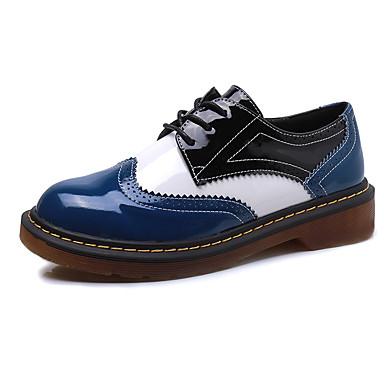 Dames Schoenen Kunstleer Herfst Comfortabel Platte schoenen Lage hak Veters Voor Causaal Zwart Blauw