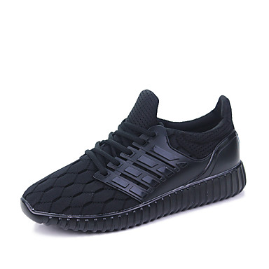 Miesten kengät PU Kevät Syksy laahustaa saappaat Comfort Urheilukengät Kävely Solmittavat varten ulko- Musta Harmaa Sininen