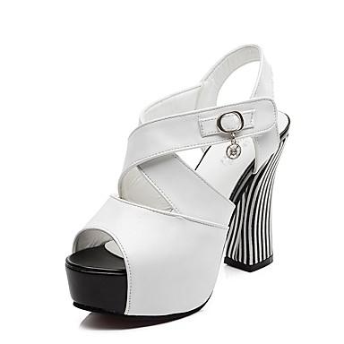 Feminino Sapatos Courino Verão Salto Robusto Cristais Vazados para Casual Festas & Noite Branco Preto Vermelho