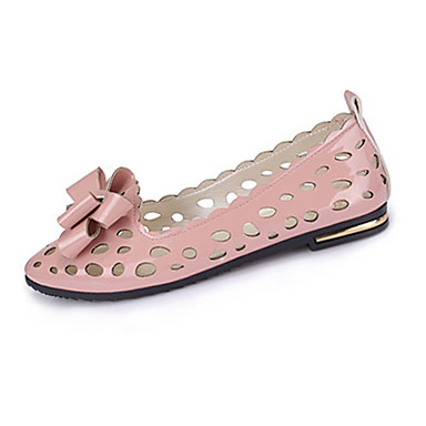 Dames Schoenen PU Zomer Platte schoenen Platte hak Strik Zwart / Zilver / Roze