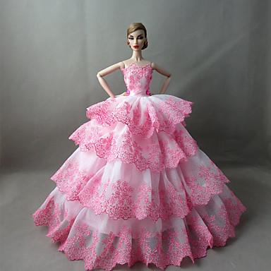 Fête / Soirée Robes Pour Poupée Barbie Blanc / Rose Robes Pour Fille de Doll Toy