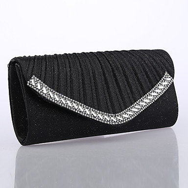 Damen Taschen Ganzjährig Glitzer Abendtasche mit Crystal / Strass Rüschen für Hochzeit Veranstaltung / Fest Formal Gold Schwarz Silber
