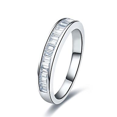 Båndringe Imitasjon Diamant Sølv Platin Belagt imitasjon Diamond Mote Sølv Smykker Bryllup 1 stk
