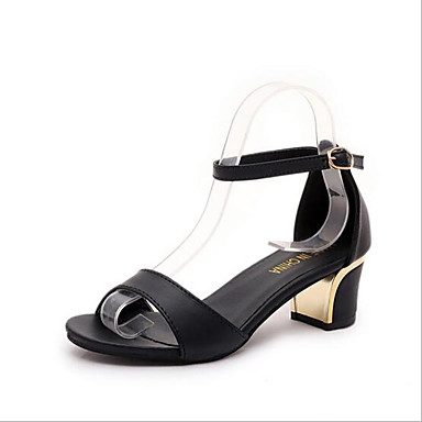 בגדי ריקוד נשים נעליים עור פטנט קיץ עקב עבה אבזם לבן / שחור / לחסום סנדלים סנדל