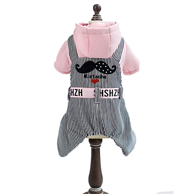 Dog Hoodie Jumpsuit Dog Clothes Casual/Daily Stripe Yellow Pink Costume For Pets