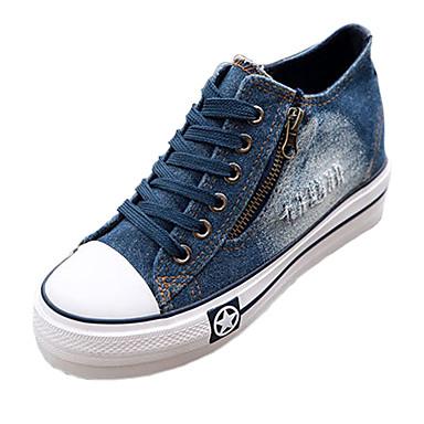 패션 스니커즈 - 야외 / 캐쥬얼 - 여성의 신발 - 컴포트 / 둥근 앞코 / 닫힌 앞코 - 데님 - 웻지 굽 - 블루