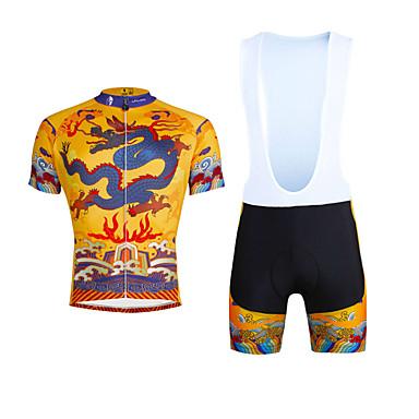 ILPALADINO Homens Manga Curta Camisa com Bermuda Bretelle - Amarelo Moto Calções Bibes Camisa/Roupas Para Esporte Conjuntos de Roupas,