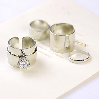 Damen Midiring - Zirkon, Kubikzirkonia, Diamantimitate Personalisiert, Luxus, Modisch Eine Größe Silber / Golden Für Party / Alltag / Normal / Strass
