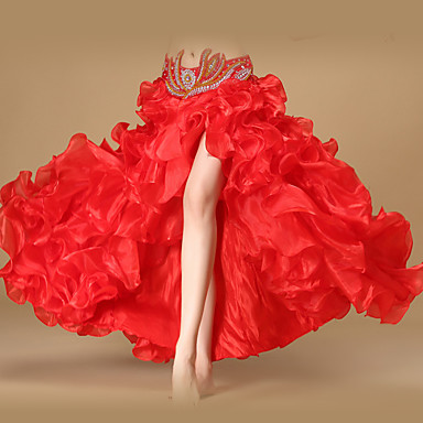 Danse du ventre Bas Femme Utilisation Polyester Organza Ruché Avant Fendu Sans Manches Taille basse Jupe