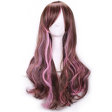 Pelucas sintéticas / Pelucas de Broma Rizado Con flequillo Pelo sintético Pelo Ombre Peluca Mujer Sin Tapa