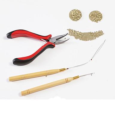 Plastique En bois Aluminium Bonnets de Perruque Clips Kits d'accessoires Perruque colle adhésive Pinces Aiguilles pour Micro Anneaux