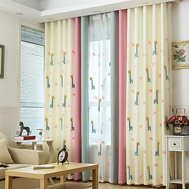 Deux Panneaux Rustique / Moderne / Néoclassique / Méditerranéen / Européen Animal Beige / Bleu / Rose Chambre à coucher Mélange Poly/Coton