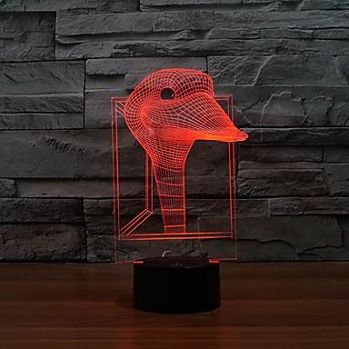 morsom 3d duck bilde førte kunst skulptur natt lys bordlampe for barn gave farge endring Nattlys