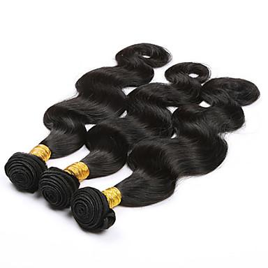 billige Parykker af ægte menneskerhår-3 Bundler Brasiliansk hår Krop Bølge 10A Jomfruhår Menneskehår, Bølget Menneskehår Vævninger 8a Menneskehår Extensions