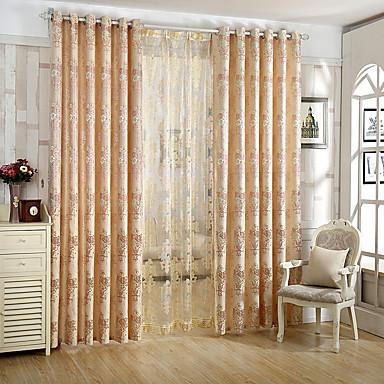 Deux Panneaux Moderne Floral / Botanique Rose Salle à manger Polyester Rideaux Tentures