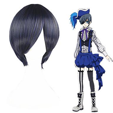 Black Butler Ciel Phantomhive Miesten Naisten 12 inch Heat Resistant Fiber Musta Anime Cosplay-Peruukit