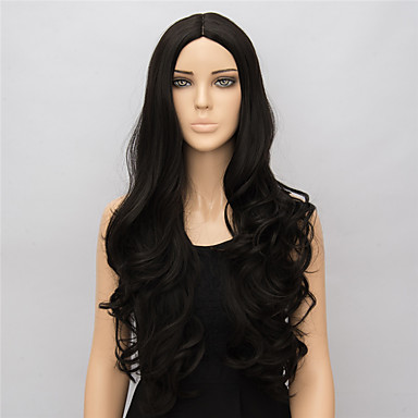 Pelucas sintéticas Ondulado Pelo sintético Raya en medio Negro Peluca Mujer Larga