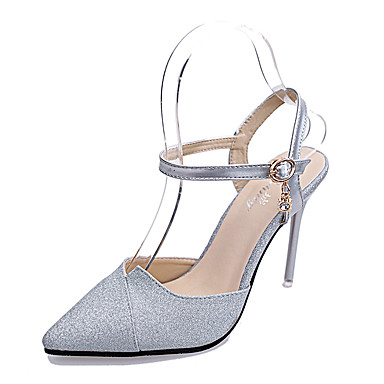 Femme Chaussures Similicuir Eté Talon Aiguille Cristal Creuse pour Décontracté Soirée & Evénement Argent Violet