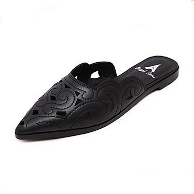 kvinners sko pu sommer tøfler / spiss tå tøfler uformelle flat hæl andre svart / hvit