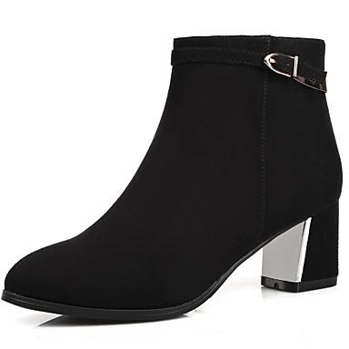 Damen Schuhe Kunstleder Winter Herbst High Heels Stiefel Blockabsatz 5,08 -10,16 cm ca. Booties / Stiefeletten Schnalle für Büro &