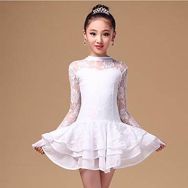 Latein-Tanz Kleider Kinder Aufführung Spitze Milchfieber Spitze 2 Stück Lange Ärmel Normal Kleid Unterhose