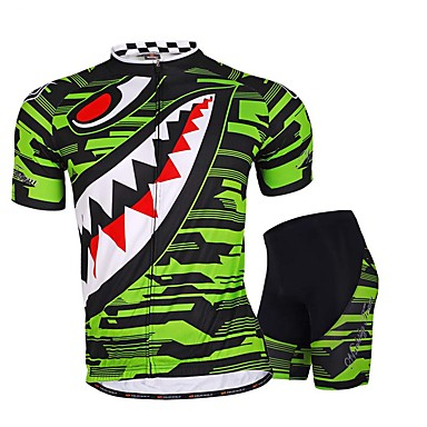 Homens Manga Curta Camisa com Shorts para Ciclismo - Verde Moto Shorts Camisa/Roupas Para Esporte Conjuntos de Roupas, Respirável,