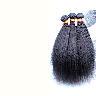 Бразильские волосы Человека ткет Волосы Прямой силуэт Наращивание волос 3 предмета Черный