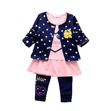 bébé Ensemble de Vêtements Fille Décontracté / Quotidien Imprimé Coton Eté Manches Longues Dessin Animé Fuchsia Bleu marine Rose Vert