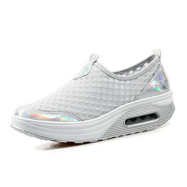 Feminino-Tênis-Sapatos de Berço-Plataforma-Azul / Cinza-Tule-Ar-Livre / Casual / Para Esporte