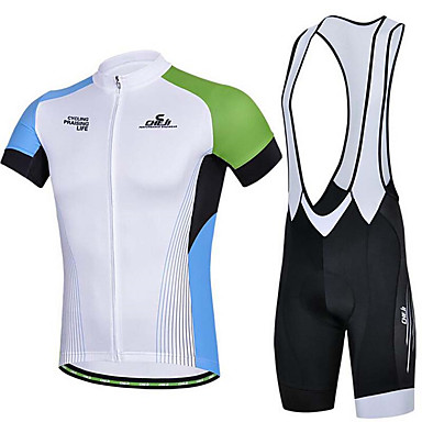 Camisa com Bermuda Bretelle Homens Manga Curta Moto Calções Bibes Camisa/Roupas Para Esporte Blusas Calças Respirável Redutor de Suor
