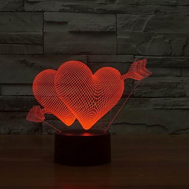 høy kvalitet fargerike dobbel kjærlighet hjerte form natt lys 7 farger Lampe LED natt lys vegglamper for bryllupsfesten