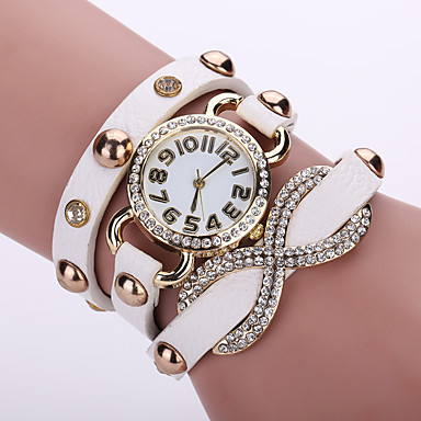 Damen Armband-Uhr / Armbanduhr Imitation Diamant / / Leder Band Blume / Böhmische / Modisch Schwarz / Weiß / Blau