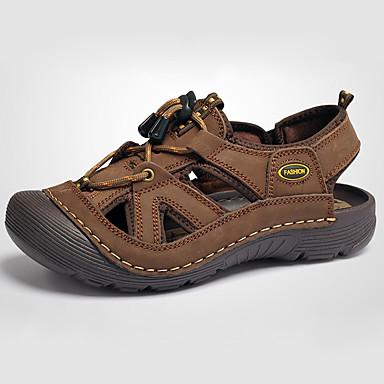 Herrn Schuhe Leder Sommer Sandalen für Normal Braun Khaki
