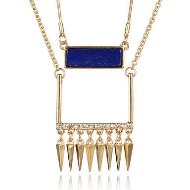 שרשראות שרשראות תליון / שרשרת תכשיטים יומי / קזו'אל שכבה כפולה / אופנתי סגסוגת / אבן יקרה מוזהב 1pc מתנות