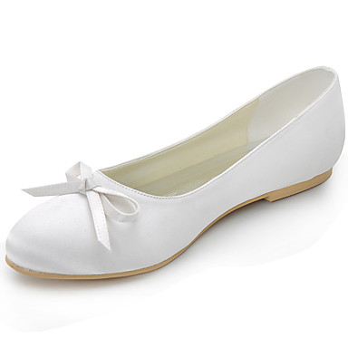 Femme Chaussures Soie Printemps / Eté Talon Plat Noeud Rose / Doré / Amande / Mariage / Soirée & Evénement