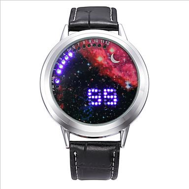 Homens Relógio de Moda Digital LED Estrelado Noctilucente Couro Banda Amuleto Preta