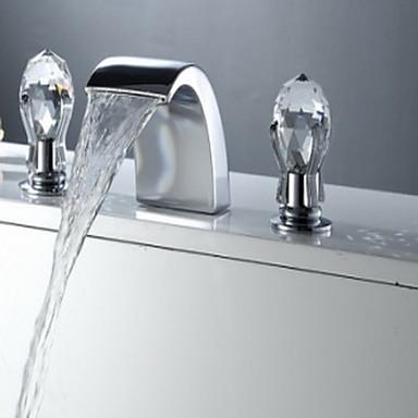 Antiikki Kolmiosainen Vesiputous Keraaminen venttiili Kolme reikää Kaksi kahvaa kolme reikää Kromi, Kylpyhuone Sink hana