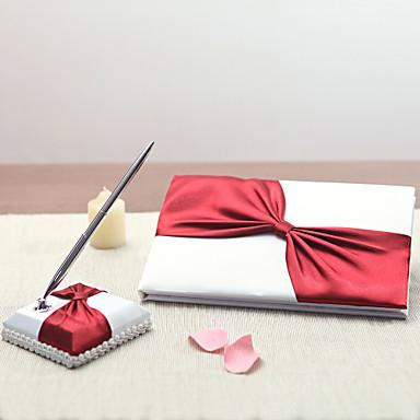 サテン ラスベガステーマWithラインストーン / リボン 結婚式芳名帳 / ペンセット