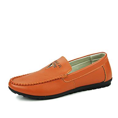 Herrn Schuhe PU Frühling Herbst Komfort Loafers & Slip-Ons Walking für Normal Weiß Schwarz Khaki
